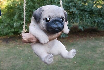 Pug Dog Puppy Figurine Dog On A Swing Resin Pet Ornament  New