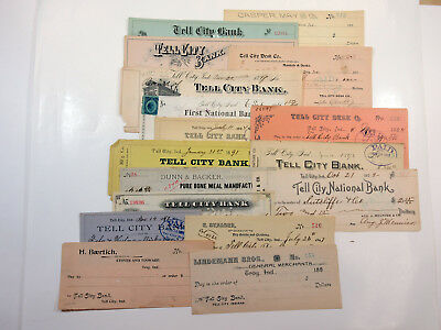 Tell City Bank Nevada Lot of (17) Unused & Used/Paid Checks ca.1880s-1890s