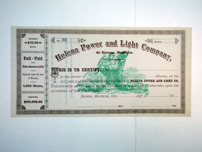 Helena Power and Light Co., ca.1880-1900 Unissued Stock Certificate
