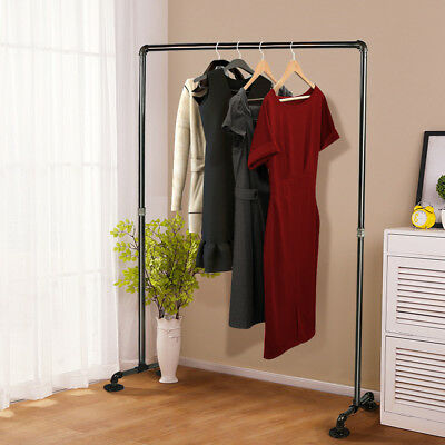 Industrial Garment Racks Pipe Clothing Display Rack Heavy Duty Steel Single Rail