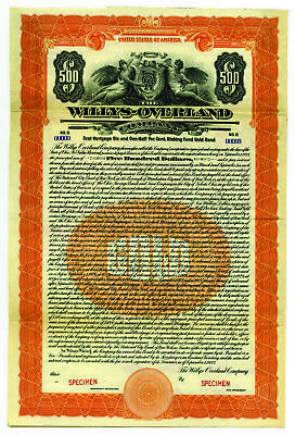 Willys-Overland Co. 1923 Specimen 6.% Gold Coupon Bond VF ABNC