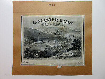 American Bank Note Co. Proof Vignette ca.1870-90's Lancaster Mills Ginghams