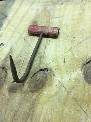 ANTIQUE VINTAGE HAY HOOK TOOL WITH WOODEN HANDLE meat, ice primitive