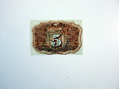 U.S. Fractional Curr. 2nd Issue 5cts Fr.#1232 Back Proof Cut Close XF/AU