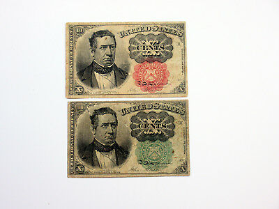 U.S. Fractional Curr. 4th Issue 10cts (2) Green & Red Seals Fine, Fr#1257-61