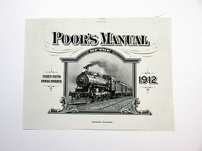 ABNC 1912 Poor's Manual Front Cover Proof on India paper, Train, Unc. Rare