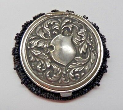 c1890-ANTIQUE VICTORIAN VNTG~SILVER REPOUSSE~TAM O SHANTER~BEADED COIN PURSE~FAB