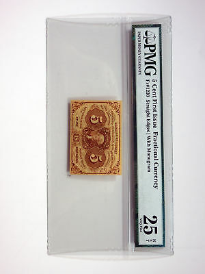 U.S. Fractional Curr. 1st Issue 5cts Fr.#1230 w/monogram PMG VF25 NET Imperf