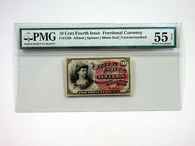 U.S. Fractional Curr. 4th Issue 10cts Fr.#1258 40mm Seal PMG AU 55 NET, Repaired