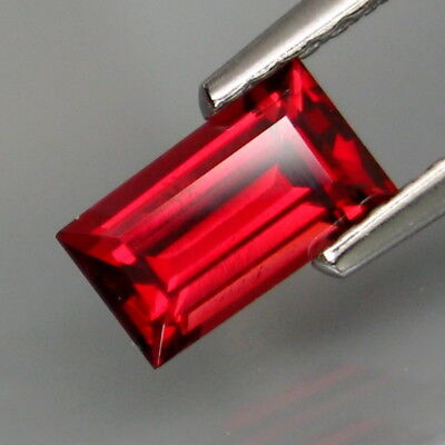 0.77Ct.Very Good Color! Natural Red Spinel MaeSai,Thailand Baguette 7x4mm.