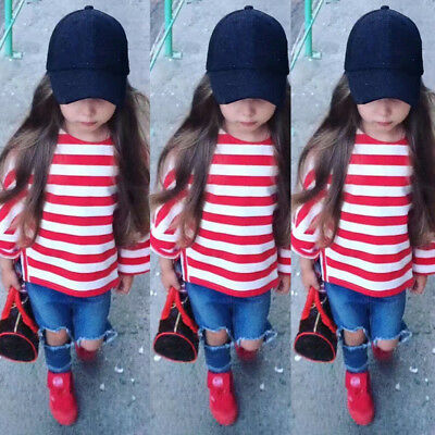 Kids Baby Girls Toddler Long Sleeve T-shirt Tops+Pants Jeans Outfit Set Clothes