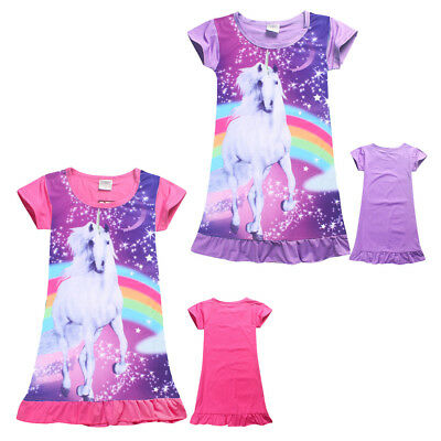 4-10Y Kids Girls Unicorn Top T Shirt Dress Nightwear Nightdress Pyjamas Clothes