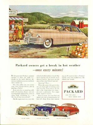 Packard owners get a break in hot weather once every minute! ad 1948