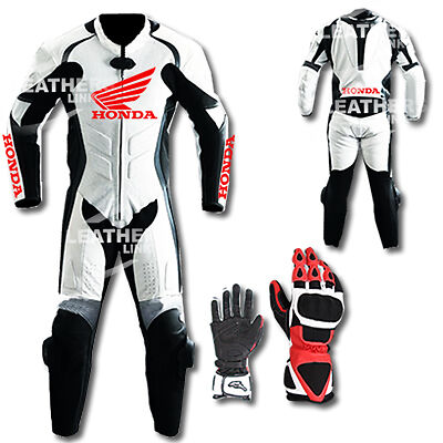 Honda Motorbike Motorcycle Leather Racing Suit MST-67(With Gloves)(US 38,40,42)