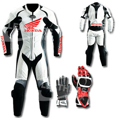 Honda Motorbike Motorcycle Leather Racing Suit MST-67(With Gloves)(US 44,46,48)