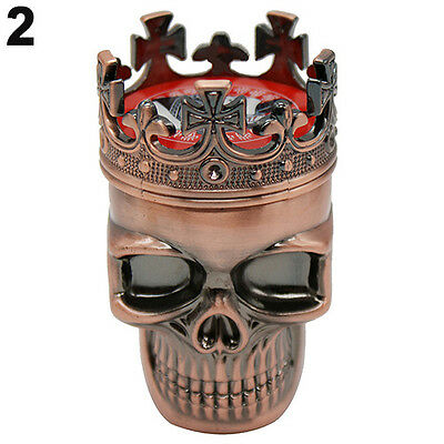 Hot King Skull Cross Crown 3 Layers Tobacco Herb Spice Grinder Crusher Cinnamon