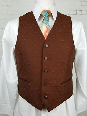 Vintage Mens Single Breast Brown Brocade Pattern Waistcoat -38 Short- EM73