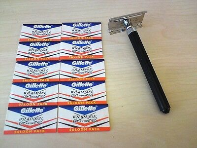 Wet Classic Safety Razor & 10 Wilkinson Sword Double Edge Blades Vintage Shaver