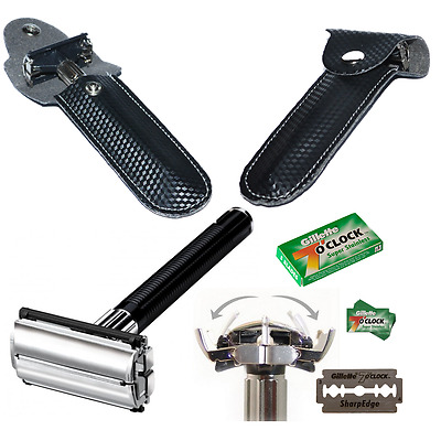 Butterfly Safety Razor & 20 Gillette 7 OClock Double Edge Blades Shaving Vintage