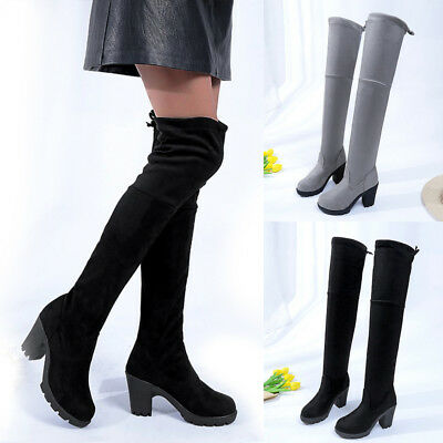 Women Suede Block Heel Boots Over The Knee Pull On Shoes Thigh Stretch Boots
