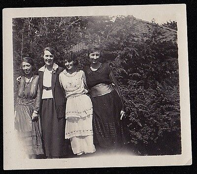 Old Vintage Antique Photograph Four Young Women Wearing Great Outfits Dresses