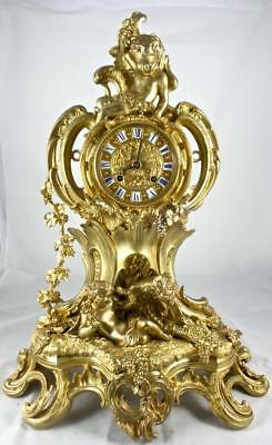 Spectacular antique French 19th c Large & Rare gilt bronze Figural mantle clock