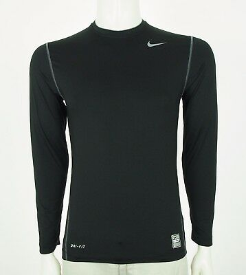 Nike Pro Combat Dri-Fit Fitted Black Training Workout Shirt Mens Small