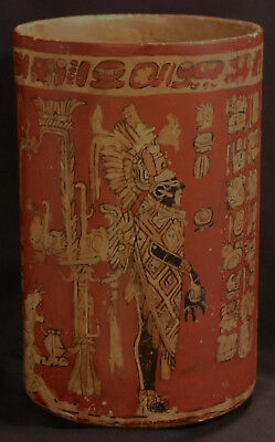 Reproduction Pre-Columbian Early Mayan Cylindrical Chocolate Pot/Vase/Vessel