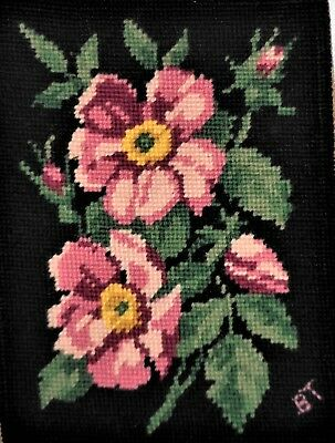 Elegant Pink Floral & Black Finished Completed Vintage Wall Art Wool Needlepoint