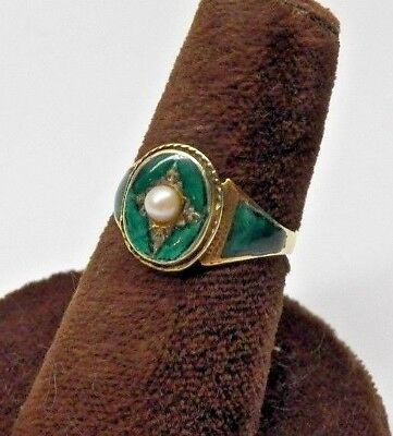 Gorgeous~Antique Art Deco Vintage~French Guilloche Enameled~14K Gold~Pearl Ring