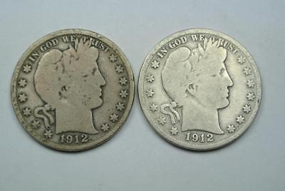 1912 & 1912-S Barber Half Dollars, Good Condition - C4114