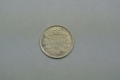 1897 Canada Five, 5 Cents, AU Condition - C4082