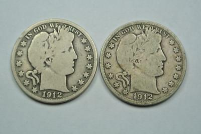 1912-D & 1912-S Barber Half Dollars, Good+ Condition - C4116