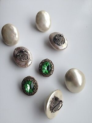 Old Vintage Antique MOP French Art Deco Signed Shell Earrings Old Mixed Job Lot