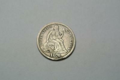 1876-CC Seated Liberty Dime, VF Condition - C4220