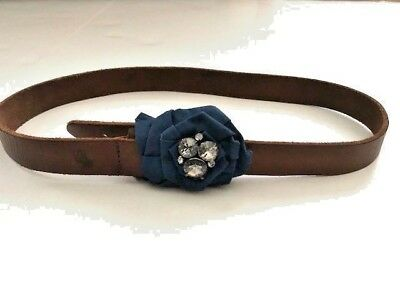 Abercrombie Kids Girl's Used Leather Belt Blue Flower w/ Crystals 28-32 S M L
