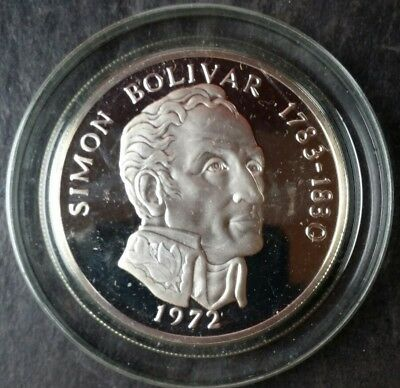 1972 Panama Proof 20 Balboas Sterling Silver Bolivar in a Capsule