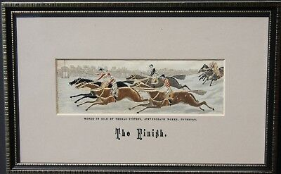 """Stevengraph T. Stevens Silk Woven Picture """"The Finish"""" Horse Racing 1880"""