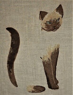Siamese Cat Pillow Tp Elsa Williams Finished Kit Vtg Completed Crewel Embroidery