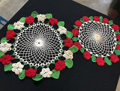 Pair Of Vintage Red & Off White Raised Roses Doilies