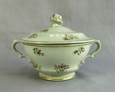 Antique 1830 Ridgway Sugar Bowl with Lid Hand Painted Floral Cabbage Rose Knob