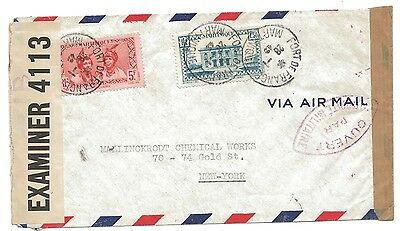 1942 WW2 Double Censored Martinique Antigua Air Mail to New York Cover