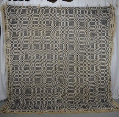 coverlet linen wool blue white 86x96 Chariot wheel  antique original