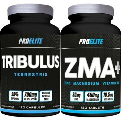Proelite Zma 120 Tablets + Tribulus Terrestris 120 Capsules Supports Growth