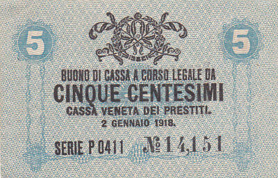 5 Centesimi  Aunc Banknote From Austrian Occupation Of Venice 1917!pick-M1