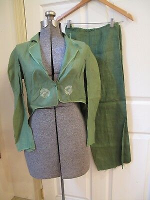 1930s Antique Vintage OLD HALLOWEEN COSTUME 2pc Green Suit Leprechaun ChildAdult