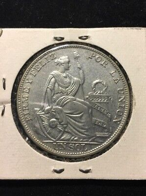 """""""sitting Liberty"""" Low Mintage 76.000 Only, 1930 Peru Sol, Stunning Silver Crown"""