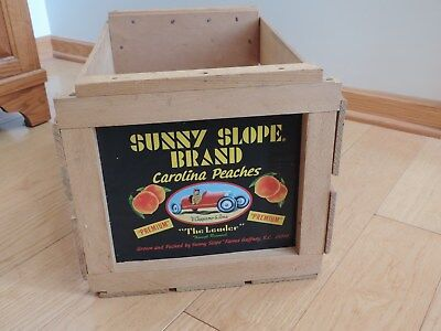 Sunny Slope Brand Peach Peaches Wood Crate Vtg Produce Advertising Storage Box