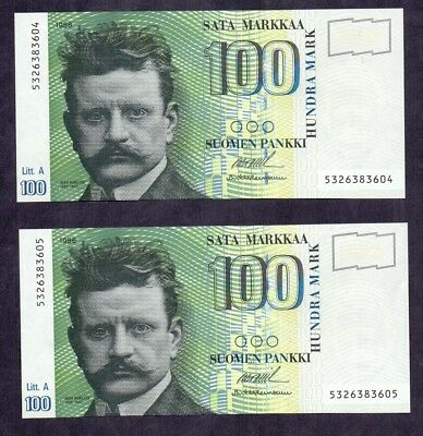 100 Markkaa From Finland 1986 Unc 2 pcs With Concecutive Numbers