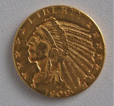 1909 D $5 Indian Head Half Eagle United States Gold Coin 09905
